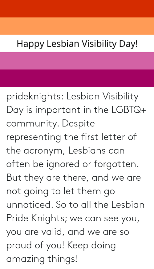 Often: prideknights:  Lesbian Visibility Day is important in the LGBTQ+ community. Despite representing the first letter of the acronym, Lesbians can often be ignored or forgotten. But they are there, and we are not going to let them go unnoticed. So to all the Lesbian Pride Knights; we can see you, you are valid, and we are so proud of you! Keep doing amazing things!