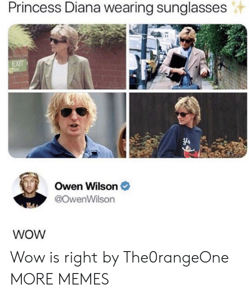 diana: Princess Diana wearing sunglasses  EXIT  Owen Wilson  @OwenWilson  WOW Wow is right by The0rangeOne MORE MEMES