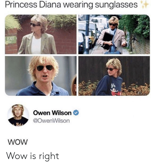 wearing sunglasses: Princess Diana wearing sunglasses  EXIT  Owen Wilson  @OwenWilson  WOW Wow is right