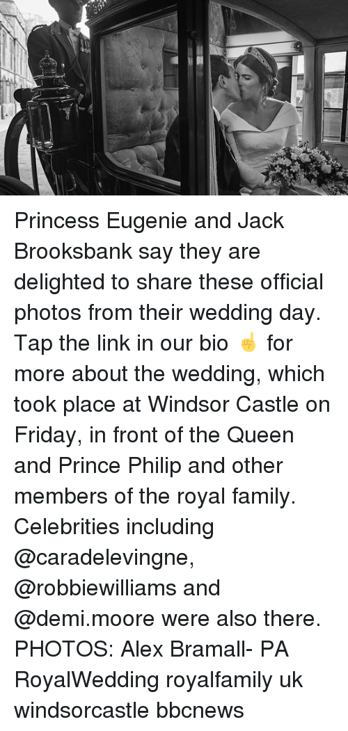 delighted: Princess Eugenie and Jack Brooksbank say they are delighted to share these official photos from their wedding day. Tap the link in our bio ☝️ for more about the wedding, which took place at Windsor Castle on Friday, in front of the Queen and Prince Philip and other members of the royal family. Celebrities including @caradelevingne, @robbiewilliams and @demi.moore were also there. PHOTOS: Alex Bramall- PA RoyalWedding royalfamily uk windsorcastle bbcnews