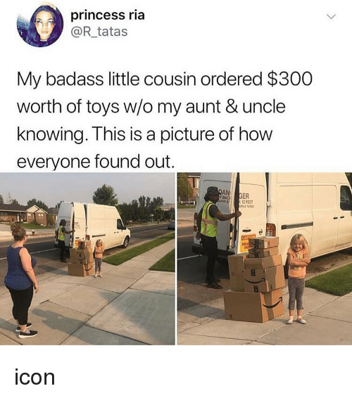 Memes, Princess, and Toys: princess ria  @R_tatas  My badass little cousin ordered $300  worth of toys w/o my aunt & uncle  knowing. This is a picture of how  everyone found out.  AN  GER  12 FEET  s7 icon