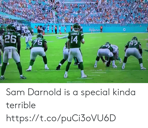 Nfl, Bell, and Sam: PRiphin  BELL  DARNOLD  $26  14  75  625  25 Sam Darnold is a special kinda terrible https://t.co/puCi3oVU6D