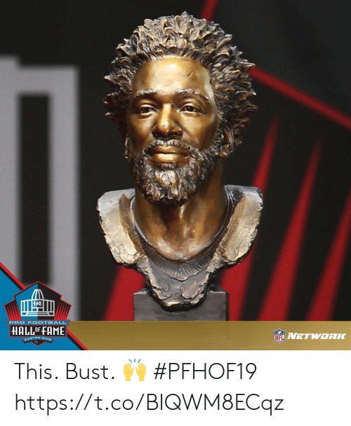 Memes, Ohio, and Pro: PRO F OOTBALL  HALLOF FAME  NETWORLC  CANTON, OHIO This. Bust. 🙌  #PFHOF19 https://t.co/BIQWM8ECqz