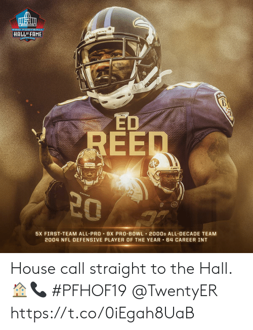 Defensive: PRO F OOTBALL  HALLOFFAME  KAVENS  ANTON ONIR  RA  UPMET  REED  20  5X FIRST-TEAM ALL-PRO 9X PRO-BOWL 2000s ALL-DECADE TEAM  2004 NFL DEFENSIVE PLAYER OF THE YEAR 64 CAREER INT House call straight to the Hall. 🏠📞 #PFHOF19 @TwentyER https://t.co/0iEgah8UaB