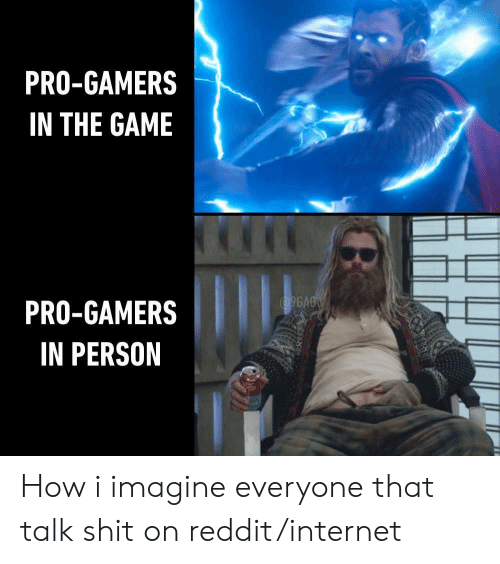 pro gamers: PRO-GAMERS  IN THE GAME  9GAG  PRO-GAMERS  IN PERSON How i imagine everyone that talk shit on reddit/internet