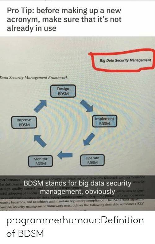 Acronym: Pro Tip: before making up a new  acronym, make sure that it's not  already in use  Big Data Security Management  Data Security Management Framework  Design  BDSM  Implement  Improve  BDSM  BDSM  1.  Operate  BDSM  Monitor  BDSM  performance indiriton against designed ohiectives and provides feedback and performance  The deficiencie BDSM stands for big data security  design, quality control, and cont  ful adoption of a securitmanagement, obviously  e information security risks, apply sutable controls adequately pront information assets  ecurity breaches, and to achieve and maintain regulatory compliance. The ISO 27000 suputaites  mation security management framework must deliver the following desirable outcomes (ISO/  security  ganizations to iden- programmerhumour:Definition of BDSM