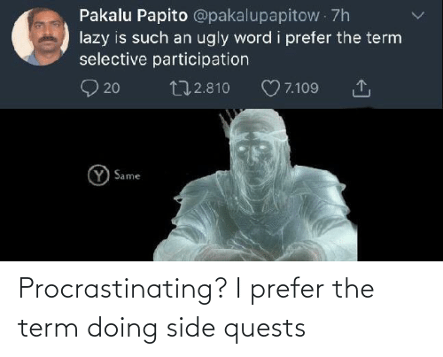 Prefer: Procrastinating? I prefer the term doing side quests