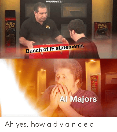 Seal: PRODUCTS!  FLEX  SEAL  FLEX  TAPE  Bunch of IF statements  FLEX  GLUE  AI Majors Ah yes, how a d v a n c e d