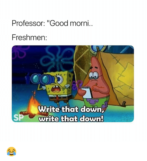 "Good, Down, and Professor: Professor: ""Good morni  Freshmen  Write that down,  write that down!  SP 😂"