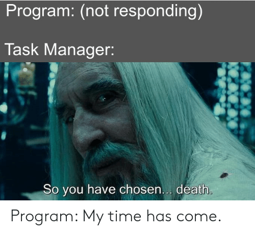 Time Has: Program: (not responding)  Task Manager:  So you have chosen... death. Program: My time has come.