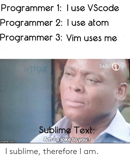 Sublime Text: Programmer 1: I use VScode  Programmer 2: l use atom  Programmer 3: Vim uses me  SABC  Sublime Text:  Amiajoke to you?  mgtilp.com I sublime, therefore I am.