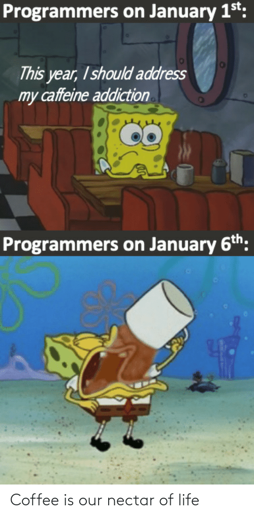 1St: Programmers on January 1st:  This year, I should address  my caffeine addiction  Programmers on January 6th: Coffee is our nectar of life