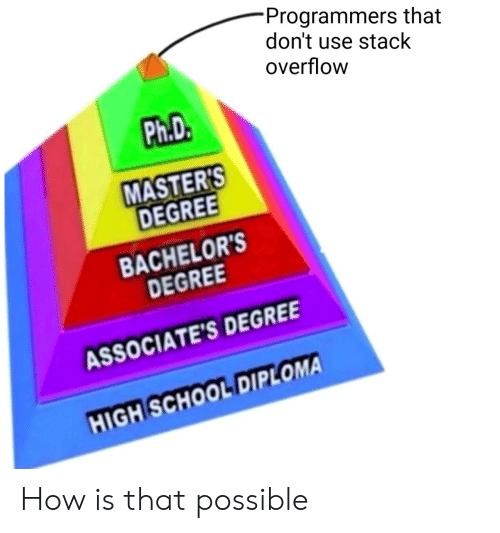 degree: Programmers that  don't use stack  overflow  Ph.D.  MASTER'S  DEGREE  BACHELOR'S  DEGREE  ASSOCIATE'S DEGREE  HIGH SCHOOL DIPLOMA How is that possible