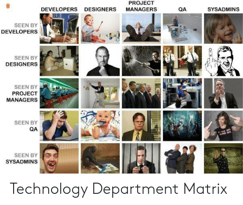 sysadmins: PROJECT  DEVELOPERS  DESIGNERS  MANAGERS  QA  SYSADMINS  SEEN BY  DEVELOPERS  SEEN BY  DESIGNERS  SEEN BY  PROJECT  MANAGERS  SEEN BY  QA  AP D  SEEN BY  SYSADMINS Technology Department Matrix
