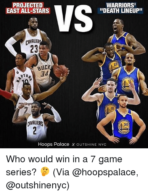 """Bucked: PROJECTED  EAST ALL-STARS  WARRIORS  """"DEATH LINEUPII  CAVALIER  23  BUCK  34  RTO  AVALIERS  30  Hoops Palace x OUTSHINE NYC Who would win in a 7 game series? 🤔 (Via @hoopspalace, @outshinenyc)"""
