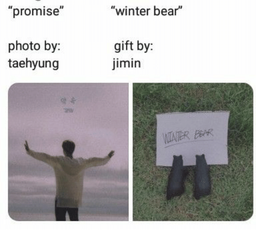 "taehyung: ""promise""  ""winter bear""  photo by:  taehyung  gift by:  imin  VITATER BAR"