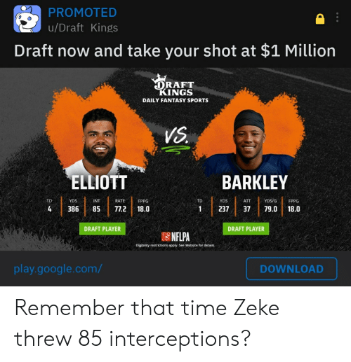 Google, Nfl, and Sports: PROMOTED  u/Draft Kings  Draft now and take your shot at $1 Million  DRAFT  KINGS  DAILY FANTASY SPORTS  VS  ELLIOTT  BARKLEY  RATE  TD  YDS  INT  TD  YDS  ATT  YDS/G  FPPG  FPPG  79.0  4  85  77.2  18.0  1  237  37  18.0  DRAFT PLAYER  DRAFT PLAYER  NFLPA  Eligibility restrictions apply. See Website for details.  play.google.com/  DOWNLOAD  386 Remember that time Zeke threw 85 interceptions?