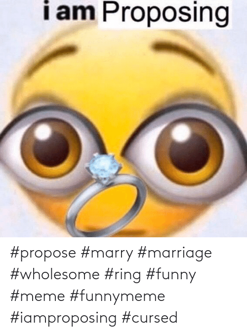 Wholesome: #propose #marry #marriage #wholesome #ring #funny #meme #funnymeme #iamproposing #cursed