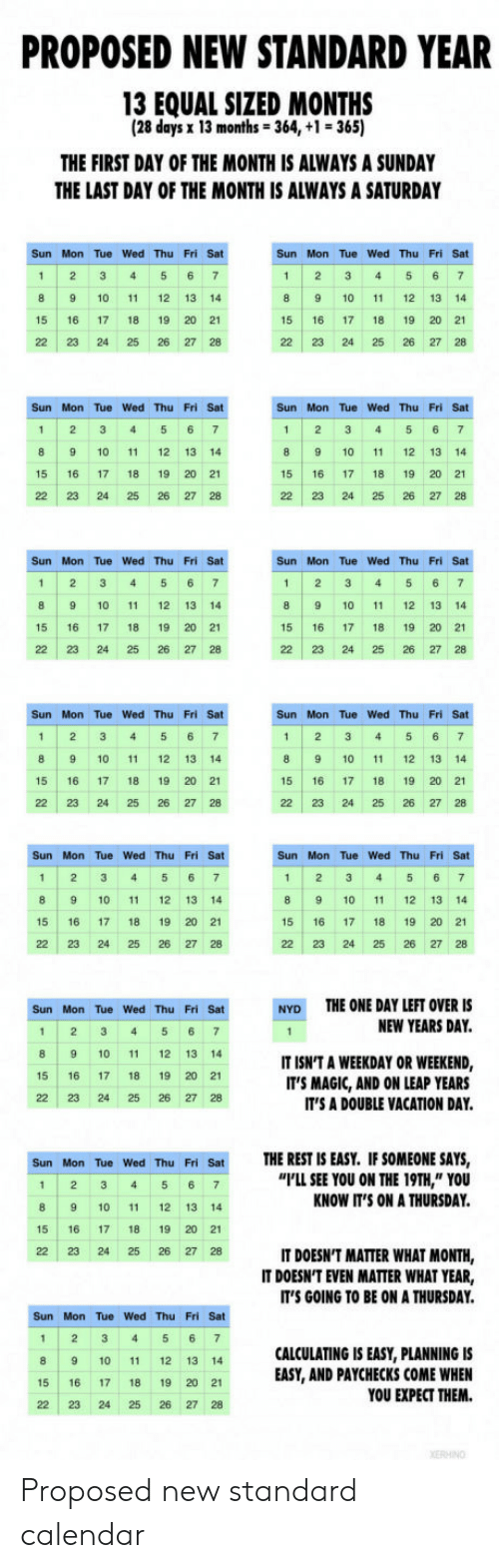 "Calendar, Magic, and Vacation: PROPOSED NEW STANDARD YEAR  13 EQUAL SIZED MONTHS  (28 days x 13 months-364, +1 365)  THE FIRST DAY OF THE MONTH IS ALWAYS A SUNDAY  THE LAST DAY OF THE MONTH IS ALWAYS A SATURDAY  Sun Mon Tue Wed Thu Fri Sat  8 9 10 11 12 13 14  15 16 17 18 19 20 21  22 23 24 25 26 27 28  Sun Mon Tue Wed Thu Fri Sat  1 2 3 456 7  8 9 10 1 12 13 14  15 16 17 18 19 20 21  22 23 24 25 26 27 28  Sun Mon Tue Wed Thu Fri Sat  1 2 3 45 6 7  8 9 10 11 12 13 14  15 16 17 18 19 20 21  22 23 24 25 26 27 28  Sun Mon Tue Wed Thu Fri Sat  1 2 3 45 6 7  8 9 10 11 12 13 14  15 16 17 18 19 20 2  221232425262728  Sun Mon Tue Wed Thu Fri Sat  1 2 3 4 5 6 7  8 9 10 1 12 13 14  15 16 17 18 19 20 21  22 23 24 25 26 27 28  Sun Mon Tue Wed Thu Fri Sat  1 2 3 4 5 6 7  8 9 10 11 12 13 14  15 16 17 18 19 20 21  22 23 24 25 26 27 28  Sun Mon Tue Wed Thu Fri Sat  Sun Mon Tue Wed Thu Fri Sat  8 9 10 11 12 13 14  15 16 17 18 19 20 21  22 23 24 25 26 27 28  8 9 10 11 12 13 14  15 16 17 18 19 20 21  22 23 24 25 26 27 28  Sun Mon Tue Wed Thu Fri Sat  1 2 345 67  8 9 10 11 12 13 14  15 16 17 18 19 20 21  22 23 24 25 26 27 28  Sun Mon Tue Wed Thu Fri Sat  1 2 345 6 7  8 9 10 11 12 13 14  15 16 1718 19 20 21  22 23 24 25 26 27 28  THE ONE DAY LEFT OVER IS  NEW YEARS DAY.  Sun Mon Tue Wed Thu Fri Sat  NYD  8 9 10 11 12 13 14  15 16 1718 19 20 21  22 23 24 25 26 27 28  IT ISN'T A WEEKDAY OR WEEKEND,  IT'S MAGIC, AND ON LEAP YEARS  IT'S A DOUBLE VACATION DAY.  THE REST IS EASY. IF SOMEONE SAYS,  I'LL SEE YOU ON THE 19TH,"" YOU  KNOW IT'S ON A THURSDAY  Sun Mon Tue Wed Thu Fri Sat  1 2 34 5 6 7  8 9 10 11 12 13 14  15 16 17 18 19 20 21  22 23 24 25 26 27 28  IT DOESN'T MATTER WHAT MONTH,  IT DOESN'T EVEN MATTER WHAT YEAR,  IT'S GOING TO BE ON A THURSDAY  Sun Mon Tue Wed Thu Fri Sat  1 2 3 4 5 67  8 9 10 11 12 13 14  15 16 17 18 19 20 2  22 23 24 25 26 27 28  CALCULATING IS EASY, PLANNING IS  EASY, AND PAYCHECKS COME WHEN  YOU EXPECT THEM. Proposed new standard calendar"
