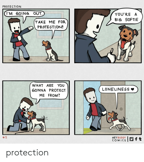 Loneliness, Comics, and Big: PROTECTION  I'M GOING OUT.  YOU'RE A  BIG SOFTIE  TAKE ME FOR  PROTECTION!  WHAT ARE YOU  LONELINESS  GONNA PROTECT  ME FROM?  5  HEY BUDDY  COMICS  ft protection