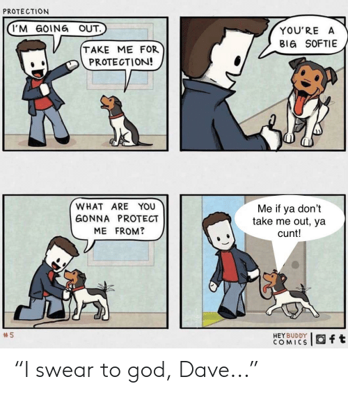 """God, Reddit, and Cunt: PROTECTION  I'M GOING OUT.  YOU'RE A  BIG SOFTIE  TAKE ME FOR  PROTECTION!  WHAT ARE YOU  Me if ya don't  take me out, ya  cunt!  GONNA PROTECT  ME FROM?  5  HEY BUDDY  COMICS  ft """"I swear to god, Dave..."""""""