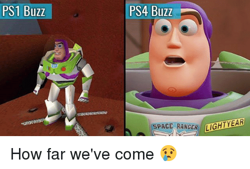 Buzzed: PS1 Buzz  PS4 Buzz  SPACE RANGER IGHTY  AR How far we've come 😢