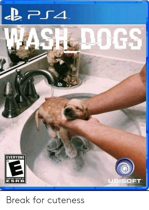 ps4: PS4  WASH DOGS  T  EVERYONE  CONTENT RATED BY  UBISOFT  ESRB Break for cuteness
