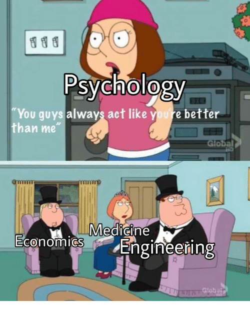 "Psychology, Engineering, and Medicine: Psychology  You guys always act like youre better  than me""  Global  Medicine  0  Engineering"