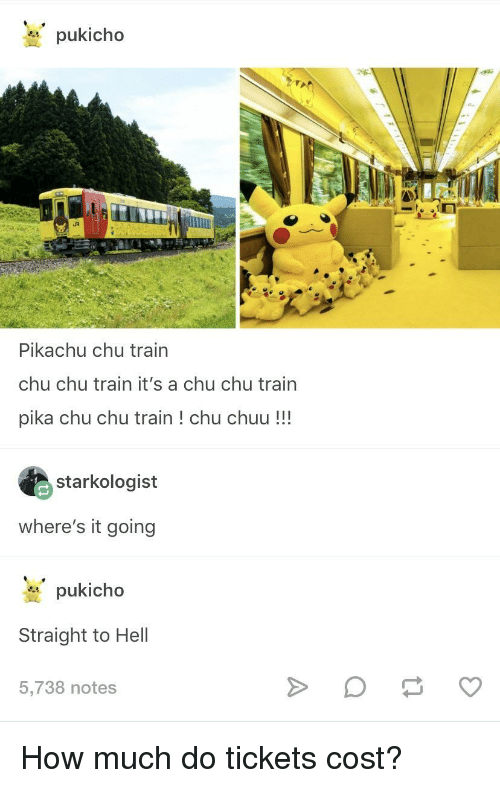 pika: pukicho  Pikachu chu train  chu chu train it's a chu chu train  pika chu chu train! chu chuu!!!  starkologist  where's it going  pukicho  Straight to Hell  5,738 notes How much do tickets cost?