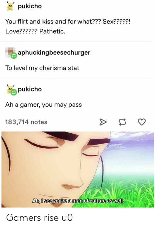Love, Sex, and Kiss: pukicho  You flirt and kiss and for what??? Sex?????  Love?????? Pathetic.  aphuckingbeesechurger  To level my charisma stat  pukicho  Ah a gamer, you may pass  183,714 notes  Ai, seeyoutre aman of anilture as well Gamers rise u0