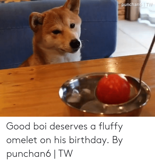 Birthday, Dank, and Good: punchan6 TW Good boi deserves a fluffy omelet on his birthday.  By punchan6 | TW