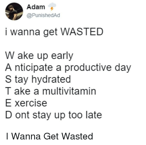 Day, Stay, and Multivitamin: @PunishedAd  i wanna get WASTED  W ake up early  A nticipate a productive day  S tay hydrated  ake a multivitamin  E xercise  D ont stay up too late I Wanna Get Wasted