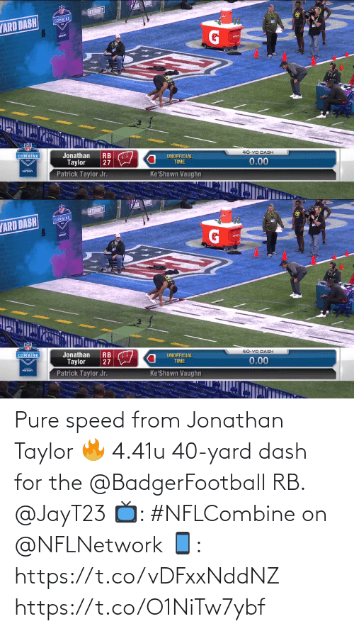 yard: Pure speed from Jonathan Taylor 🔥  4.41u 40-yard dash for the @BadgerFootball RB. @JayT23  📺: #NFLCombine on @NFLNetwork 📱: https://t.co/vDFxxNddNZ https://t.co/O1NiTw7ybf