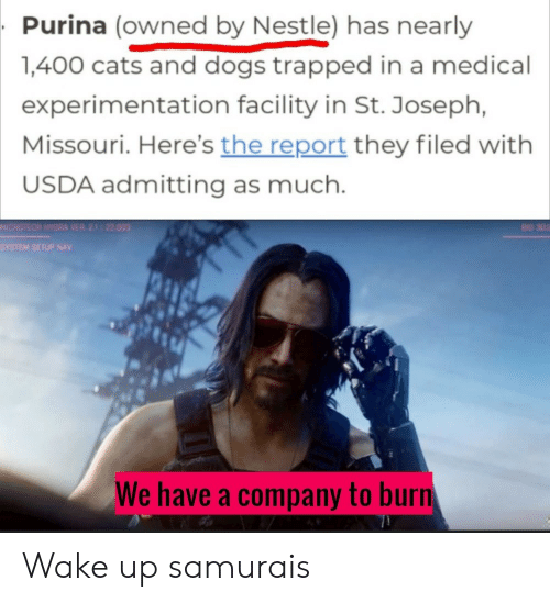Bid: Purina (owned by Nestle) has nearly  1,400 cats and dogs trapped in a medical  experimentation facility in St. Joseph,  Missouri. Here's the report they filed with  USDA admitting as much.  MICROTECH HYDRA VER 21 22.003  BID 302  SYSTEM SETUP NAV  We have a company to burn Wake up samurais