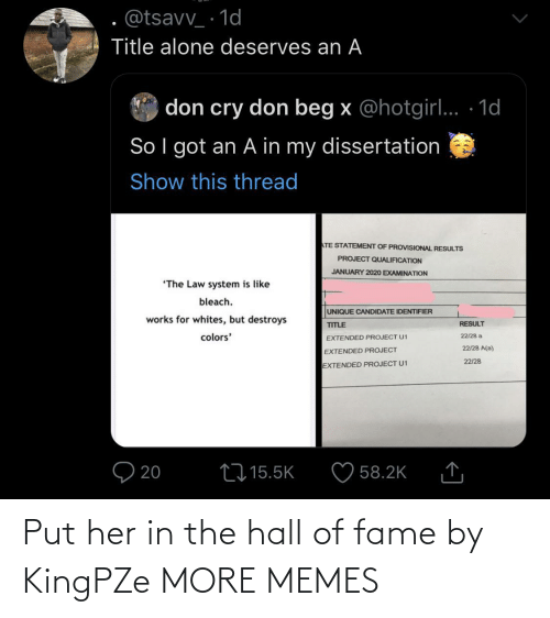hall: Put her in the hall of fame by KingPZe MORE MEMES