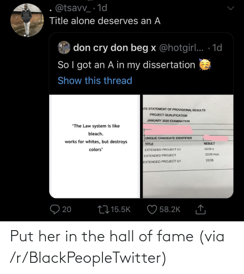 hall of fame: Put her in the hall of fame (via /r/BlackPeopleTwitter)