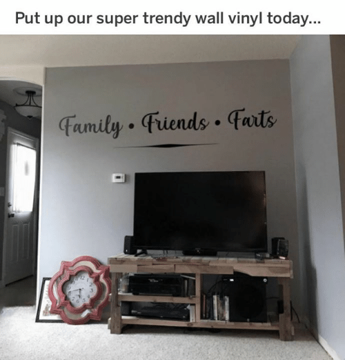vinyl: Put up our super trendy wall vinyl today...  Famity Fiends faits