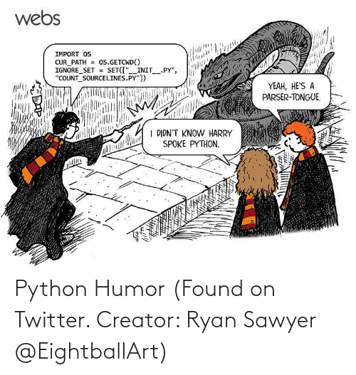 creator: Python Humor (Found on Twitter. Creator: Ryan Sawyer @EightballArt)