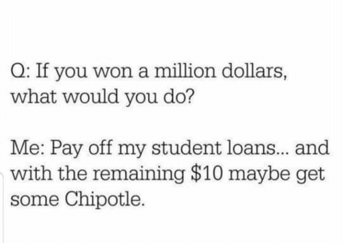 Would You: Q: If you won a million dollars,  what would you do?  Me: Pay off my student loans.. and  with the remaining $10 maybe get  some Chipotle.