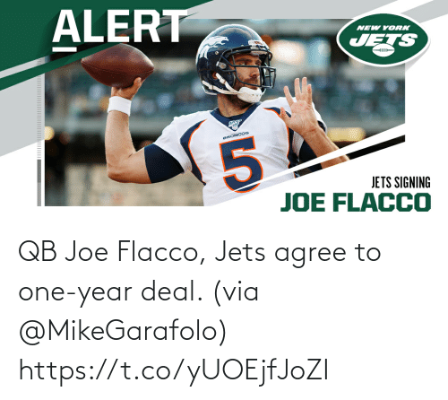 One Year: QB Joe Flacco, Jets agree to one-year deal. (via @MikeGarafolo) https://t.co/yUOEjfJoZI