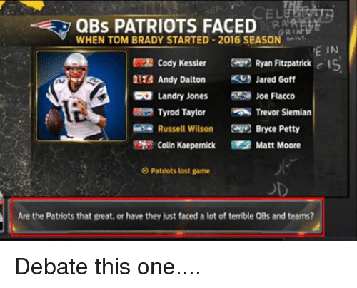 Andy Dalton: QBs PATRIOTS FACED  WHEN TOM BRADY STARTED 2016 SEASON  GRI  VE IN  Cody Kessler  Ryan Fitzpatrick  c IS  Andy Dalton  KS Jared Goff  CO Landry Jones  Joe Flacco  Tyrod Taylor  Trevor Siemian  Russell Wilson  Bryce Petty  Colin Kaepernick Matt Moore  O Patriots lost game  Are the Patriots that great, or have they just faced a lot of terrible QBs and teams? Debate this one....