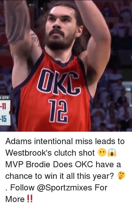 Memes, 🤖, and Clutch: QTR  12  15 Adams intentional miss leads to Westbrook's clutch shot 😶😱 MVP Brodie Does OKC have a chance to win it all this year? 🤔 . Follow @Sportzmixes For More‼️