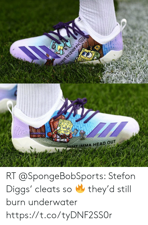 Stefon: QU HAVE TO COVER  #14TODA   SHT IMMA HEAD OUT RT @SpongeBobSports: Stefon Diggs' cleats so 🔥 they'd still burn underwater https://t.co/tyDNF2SS0r
