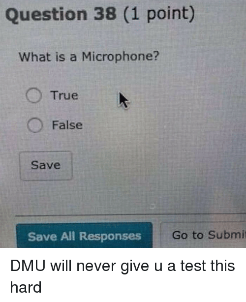 dmu: Question 38 (1 point)  What is a Microphone?  True  False  Save  Save All Responses  Go to Submit <p>DMU will never give u a test this hard</p>