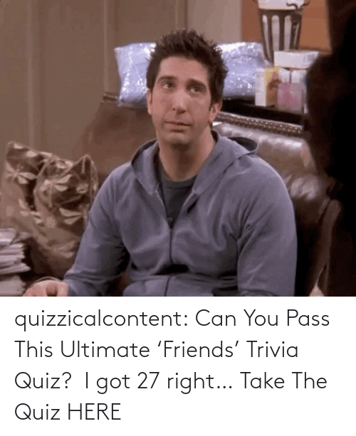 amp: quizzicalcontent:   Can You Pass This Ultimate 'Friends' Trivia Quiz?  I got 27 right… Take The Quiz HERE