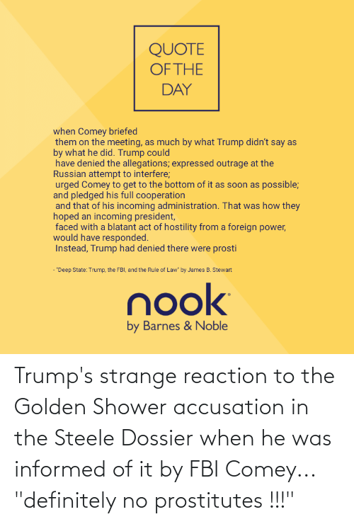 """Quote Of The Day: QUOTE  OF THE  DAY  when Comey briefed  them on the meeting, as much by what Trump didn't say as  by what he did. Trump could  have denied the allegations; expressed outrage at the  Russian attempt to interfere;  urged Comey to get to the bottom of it as soon as possible;  and pledged his full cooperation  and that of his incoming administration. That was how they  hoped an incoming president,  faced with a blatant act of hostility from a foreign power,  would have responded.  Instead, Trump had denied there were prosti  - """"Deep State: Trump, the FBI, and the Rule of Law"""" by James B. Stewart  nook  by Barnes & Noble Trump's strange reaction to the Golden Shower accusation in the Steele Dossier when he was informed of it by FBI Comey... """"definitely no prostitutes !!!"""""""