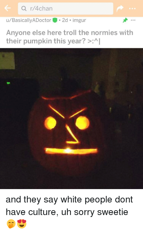 4chan, Sorry, and Troll: r/4chan  u/BasicallyADoctor 2d imgur  Anyone else here troll the normies with  their pumpkin this year? >