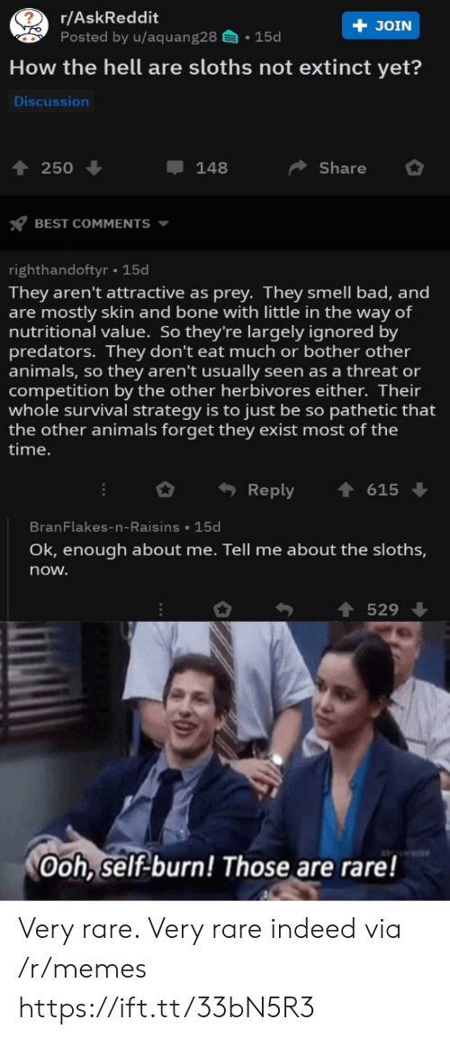 Nutritional: r/AskReddit  Posted by u/aquang28  + JOIN  15d  How the hell are sloths not extinct yet?  Discussion  Share  250  148  BEST COMMENTS  righthandoftyr 15d  They aren't attractive as prey. They smell bad, and  are mostly skin and bone with little in the way of  nutritional value. So they're largely ignored by  predators. They don't eat much or bother other  animals, so they aren't usually seen as a threat or  competition by the other herbivores either. Their  whole survival strategy is to just be so pathetic that  the other animals forget they exist most of the  |time.  Reply  615  BranFlakes-n-Raisins 15d  Ok, enough about me. Tell me about the sloths,  now.  529  Ooh, self-burn! Those are rare! Very rare. Very rare indeed via /r/memes https://ift.tt/33bN5R3