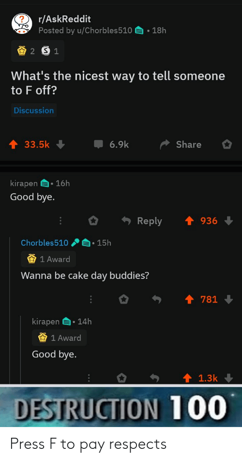Cake, Good, and Askreddit: r/AskReddit  Posted by u/Chorbles510  18h  2 S1  What's the nicest way to tell someone  to F off?  Discussion  6.9k  33.5k  Share  kirapen 16h  Good bye.  Reply  936  Chorbles510  15h  1 Award  Wanna be cake day buddies?  781  kirapen  14h  1 Award  Good bye.  1.3k  DESTRUCTION 100 Press F to pay respects