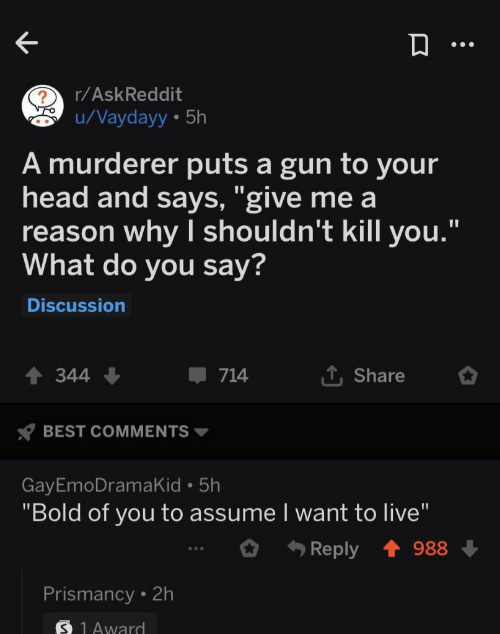 "Head, Best, and Live: r/AskReddit  u/Vaydayy 5h  A murderer puts a gun to your  head and says, ""give me a  reason why I shouldn't kill you.""  What do you say?  Discussion  L Share  344  714  BEST COMMENTS  GayEmoDramaKid 5h  ""Bold of you to assume I want to live""  Reply  988  Prismancy 2h  S 1Award"